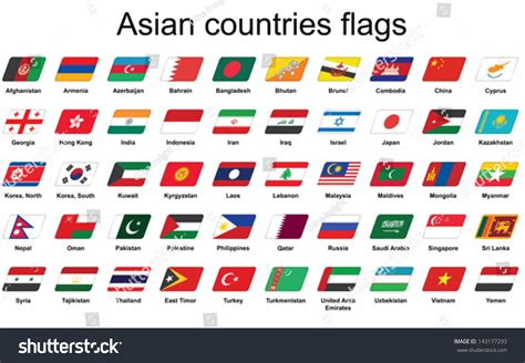Set Asian Countries Flags Icons Stock Vector 143177293