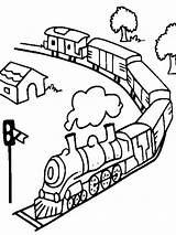 Coloring Pages Train Trains Subway Transportation Printable Railroad Freight Quality Mycoloring Template sketch template