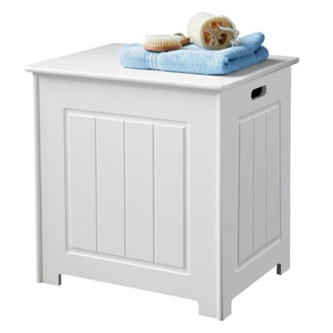white wood bathroom storage basket laundry bin chest with