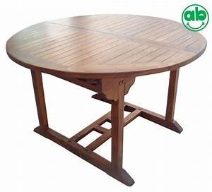 Tavolo tondo da giardino in legno balau allungabile per for Tavolo tondo legno
