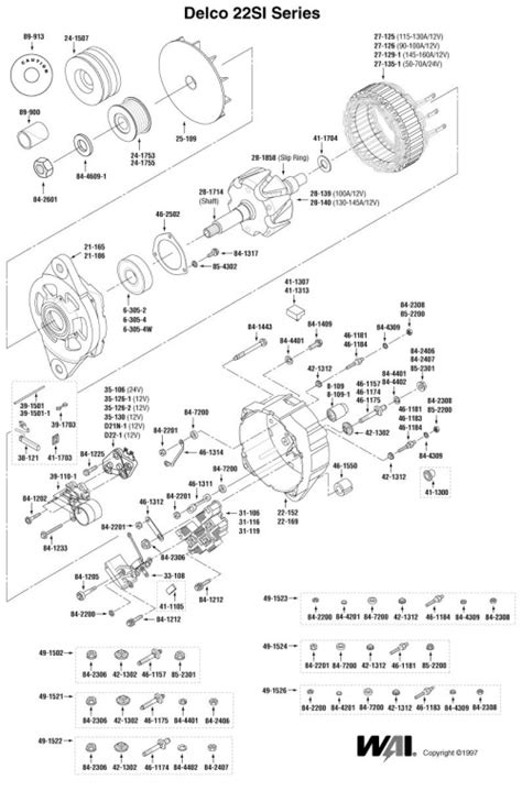 delcoremy 22si alternator exploded view parts breakdown