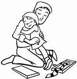 Coloring Dad Daddy Hug Hugging Bioshock Template Dads Hello sketch template