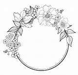Flower Drawing Borders Wreath Flowers Embroidery Pattern Patterns Hand Border Fancy Printable Coloring Pages Doodle Abstract Drawings sketch template