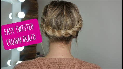 easy twisted crown braid  shortmedium hair
