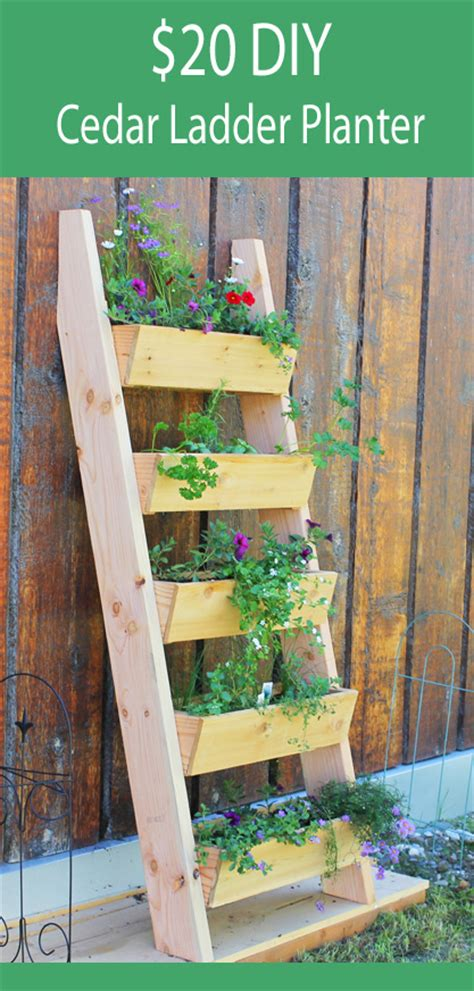 white cedar vertical tiered ladder garden planter