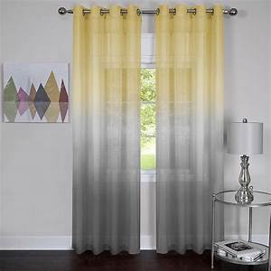 Yellow And Grey Window Curtain Panels Ease Bedding With
