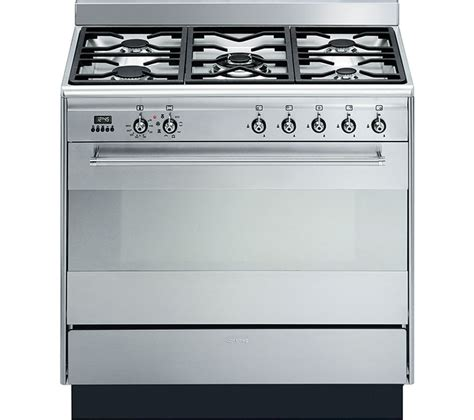 smeg gas range cookers buy smeg suk91mfx8 90 cm dual fuel range cooker stainless steel free delivery currys