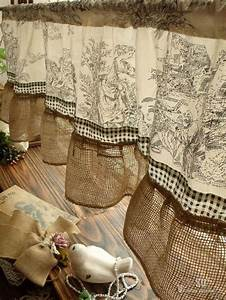 French Rustic Toile Burlap Valance Victorian Figures