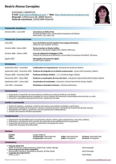 curriculum template espanol modelos en espa 241 ol de curriculum vitae modelo de