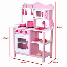 Childrens Girls Pink Wooden Toy Kitchen With 20 Piece