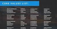 Core Values List | Company core values, Values examples ...