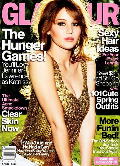 Glamour Magazine Lawrence Jennifer Cleavage Issue April
