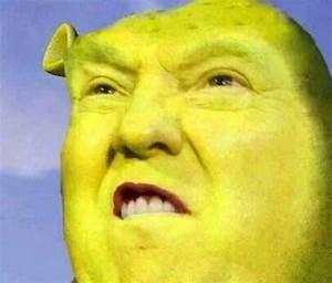 """Donald Trump/Shrek Meme"" Travel Mugs by Balzac Redbubble"