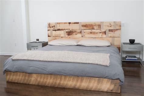 hand  reclaimed wood platform bed  rhg architecture