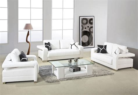 White Leather Living Room : Decorating Contemporary Leather Living Room Furniture