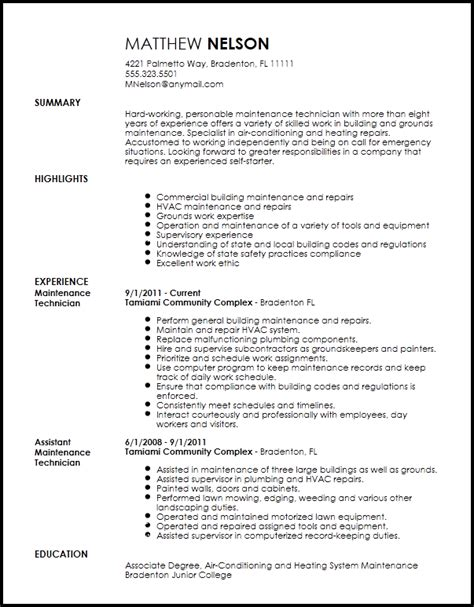 free professional maintenance technician resume template