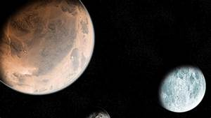 Planet Mars and Moon