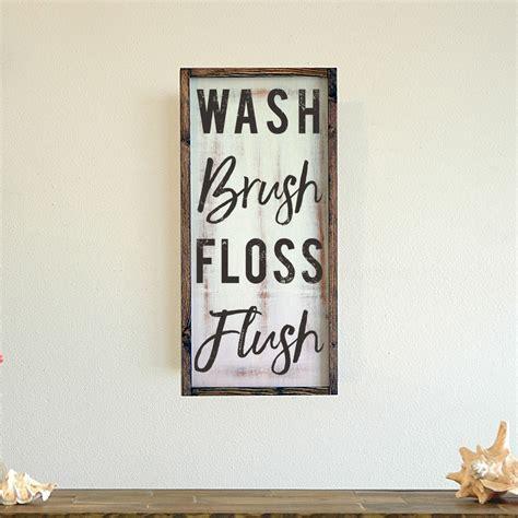 wash brush floss flush framed bathroom wall art