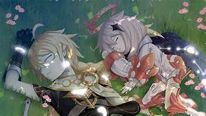 Aether, Genshin, Impact, Paimon, Are, Sleeping, On, Grass, Hd
