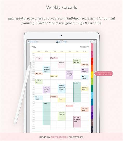 digital weekly planner hourly time planner