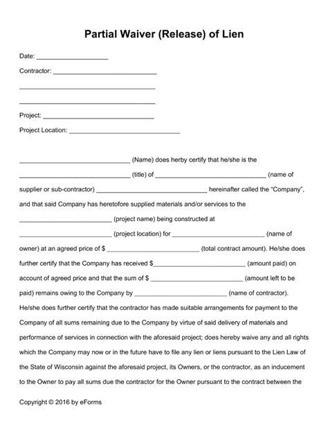 Partial Lien Waiver Template free partial release of lien form pdf word eforms