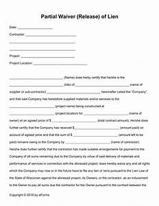 free partial release of lien form pdf word eforms With partial lien waiver template