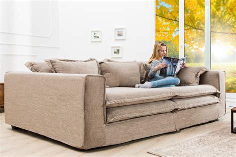 Xxxl Sofa Cloud Sand Leinen Stoff Hussen 230cm Riess