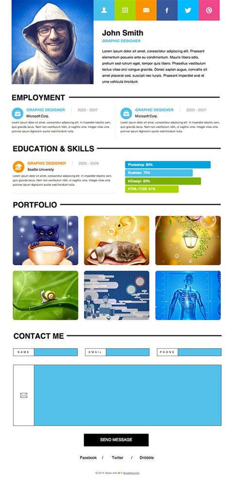 free adobe muse personal resume template on behance