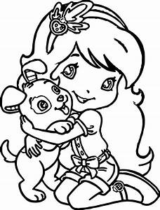 puppy coloring page - strawberry girl love dog coloring page