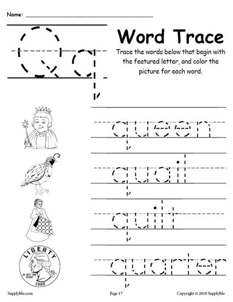 words with letter q letter q words free alphabet tracing worksheet supplyme 25758 | Alphabet Word Trace series Q 1024x1024