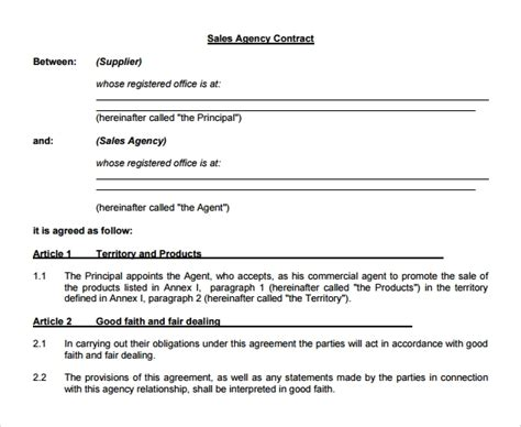 agency agreement templates  samples examples