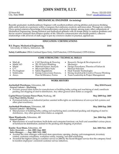 Experienced Resume Format For Mechanical Engineers by Click Here To This Mechanical Engineer Resume
