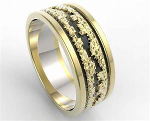 Hammered Gold Wedding Band Mens Vidar Jewelry Unique