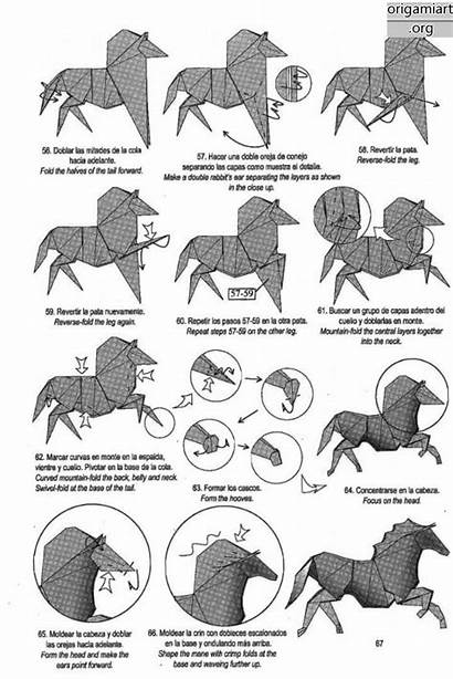 Origami Horse Complex Instructions Diagrams Running Graphic