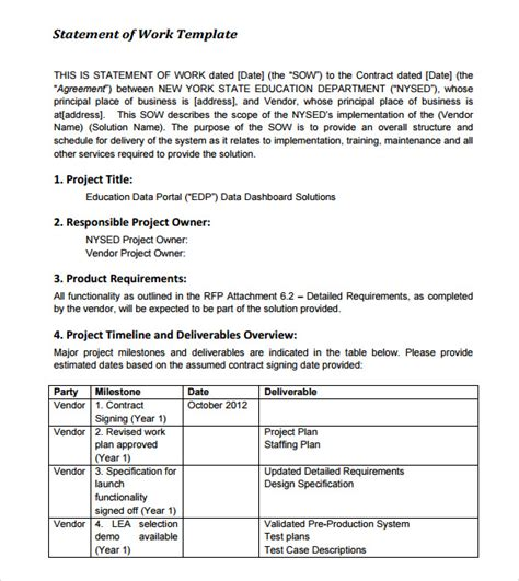 statement of work template 10 statement of work sles sle templates