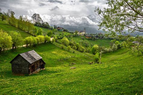 landscape pictures transylvania draculas castle road field hills house castle