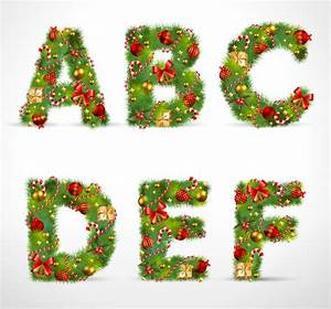 creative christmas tree alphabet and number vector set 20 With christmas tree letters