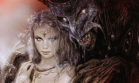 luis royo fantasy dark horror demon women art mask monster