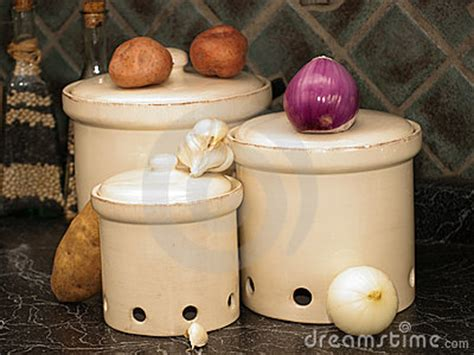 kitchen canisters  potatoesonions  garlic royalty