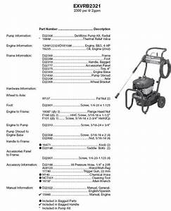 Exvrb2321 Excell Pressure Washer Parts Replacement