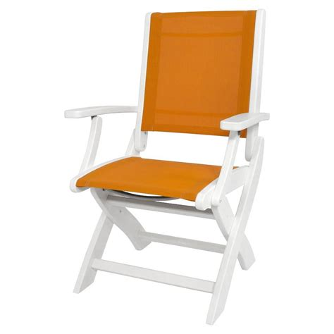 polywood club white patio chair with spa cushions