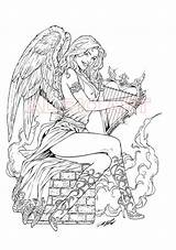 Coloring Pages Adult Gothic Angel Books Deviantart Fairy Valkyrie Angels Printable Alrioart Armando Colouring Huerta Sheets Harp Drawings Oa Rio sketch template
