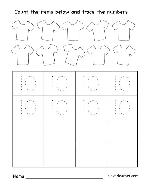Number Ten Writing, Counting And Identification Printable Worksheets For Children