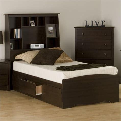 twin bookcase storage bed twin tall bookcase platform storage bed in espresso ebt