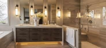 contemporary master bathroom with frameless glass shower door high ceiling in mercer island