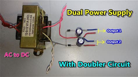 dc dual power supply with voltage doubler circuit ac to dc converter using diode capacitor