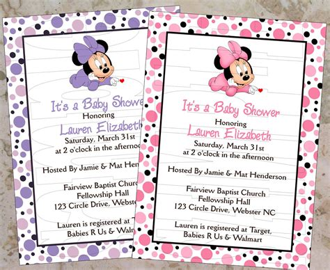 minnie mouse baby shower invitations city baby minnie invitations printable