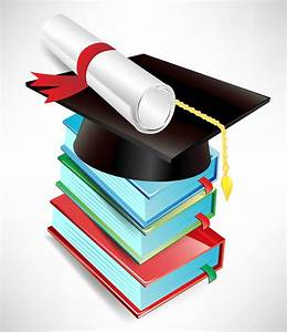 Best Free Vector Graduation Cap And Diploma Drawing
