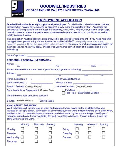 printable goodwill job application form