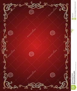 Wedding Invitation Border In Red And Gold Stock Image ...